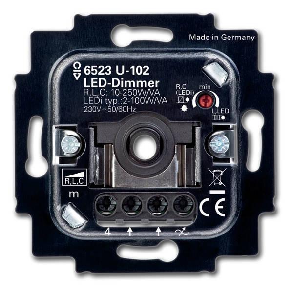 Bilde av Busch-jaeger 6523u-102 Rotary Led Dimmer 6512-0-0334 2w -100w 50/60hz