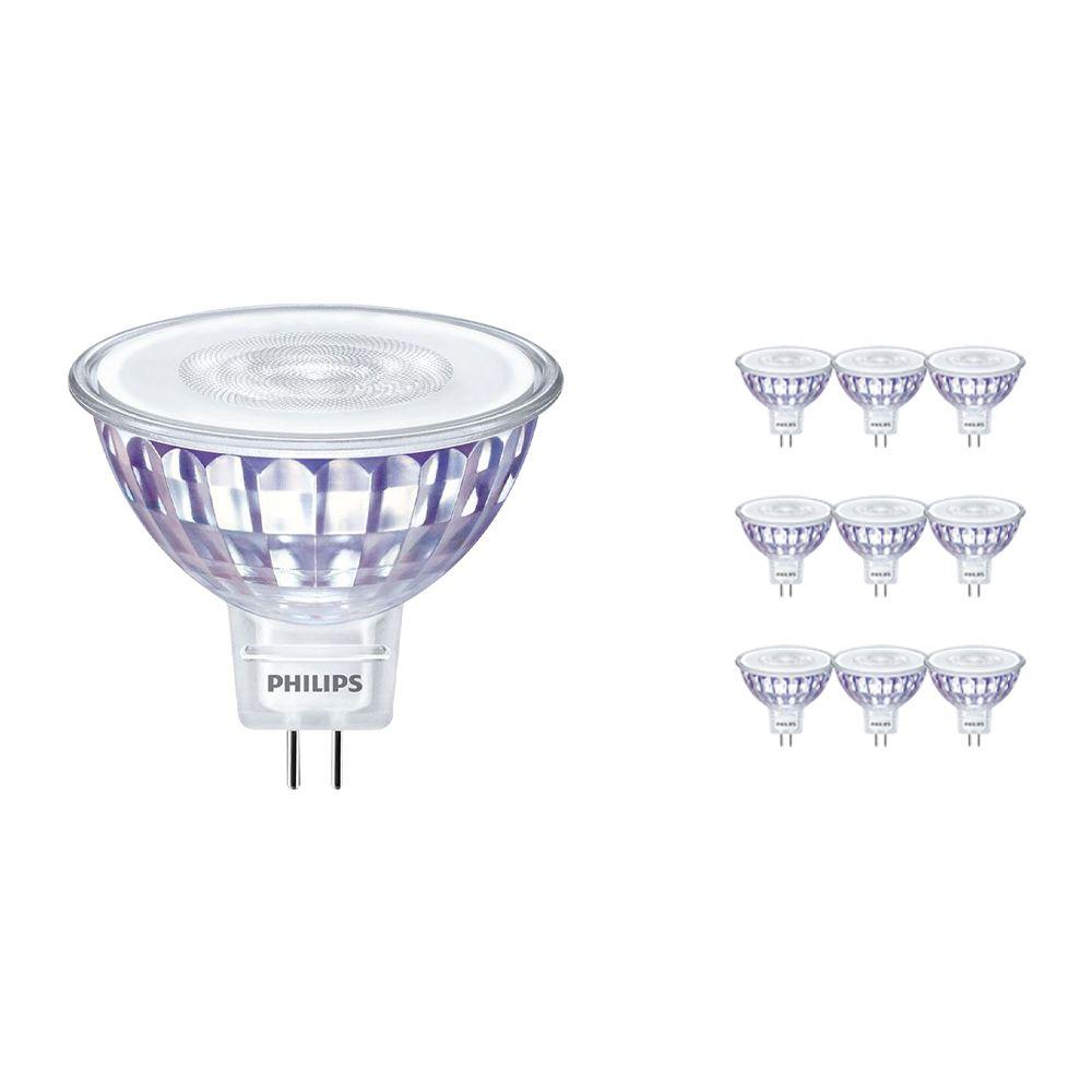 Fordelspakning 10x Philips LEDspot LV Value GU5.3 MR16 5.5W 830 60D (MASTER) | varm hvit - dimbar - erstatter 35W